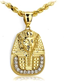 LoveBling 10k Yellow Gold Pharaoh King Tut Head with 13cz Pendant (1.35