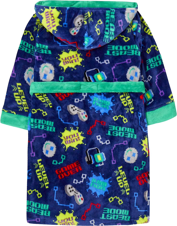 Boys Gaming Dressing Gown for Gamers Robe Gamer Hooded Fleece Bathrobe Video Game Pixel Housecoat