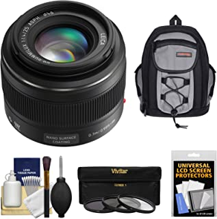 Panasonic Lumix G 25mm f/1.4 Leica DG Summilux Lens with 3 UV/CPL/ND8 Filters + Backpack + Kit for G5, G6, GF5, GF6, GH3, GH4, GM1, GX7 Cameras