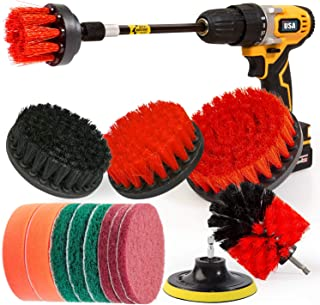 Holikme 15Piece Drill Brush Attachments Set, Red Scrub Pads & Sponge, Power Scrubber..