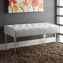 FurnitureMaxx Stefania White Fabric Acrylic Leg Bench