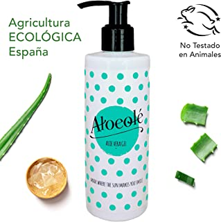 AloeOlé | Gel Aloe Vera 100% Puro y Ecológico 250 ml | Hidrata, regenera la piel y alivia las quemaduras | After Sun refrescante y calmante Post Depilación | Producido en España |