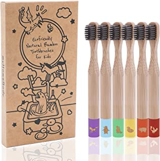 Biodegradable Kids Toothbrushes | BPA-Free Soft Charcoal Bristles |Cute Color-Coded, Animal Logos|Ecofriendly Toothbrushes...