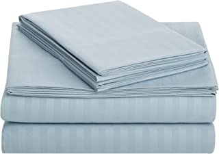 AmazonBasics Deluxe Striped Microfiber Bed Sheet Set - Twin, Spa Blue