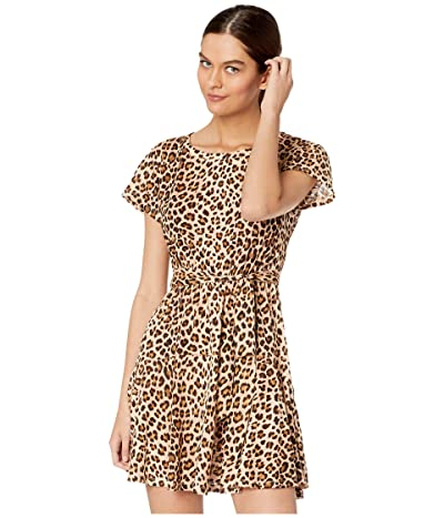 Rebecca Taylor Short Sleeve Leopard Jersey Dress (Biscuit) Women