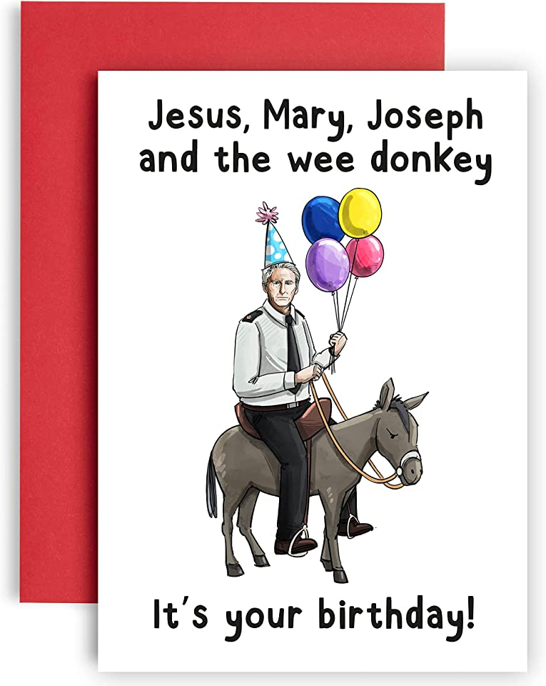 Mary, Joseph and the Wee Donkey - Line of Duty Gifts Birthday cards for her - friendship gifts for women birthday card - birthday cards for him - sister birthday card – Birthday Cards for Men