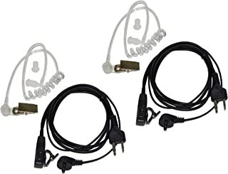 2X HQRP 2 Pin Acoustic Tube Earpiece Headsets Mic for Yaesu FT-11, FT-11R, FT-2008, FT-2009 + HQRP UV Meter