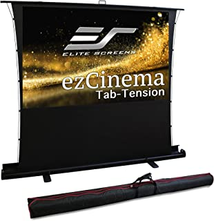 Elite Screens ezCinema Tab Tension, Manual Floor Pull Up with Scissor Backed Projector Screen, 92-inch 16:9, Portable Home...