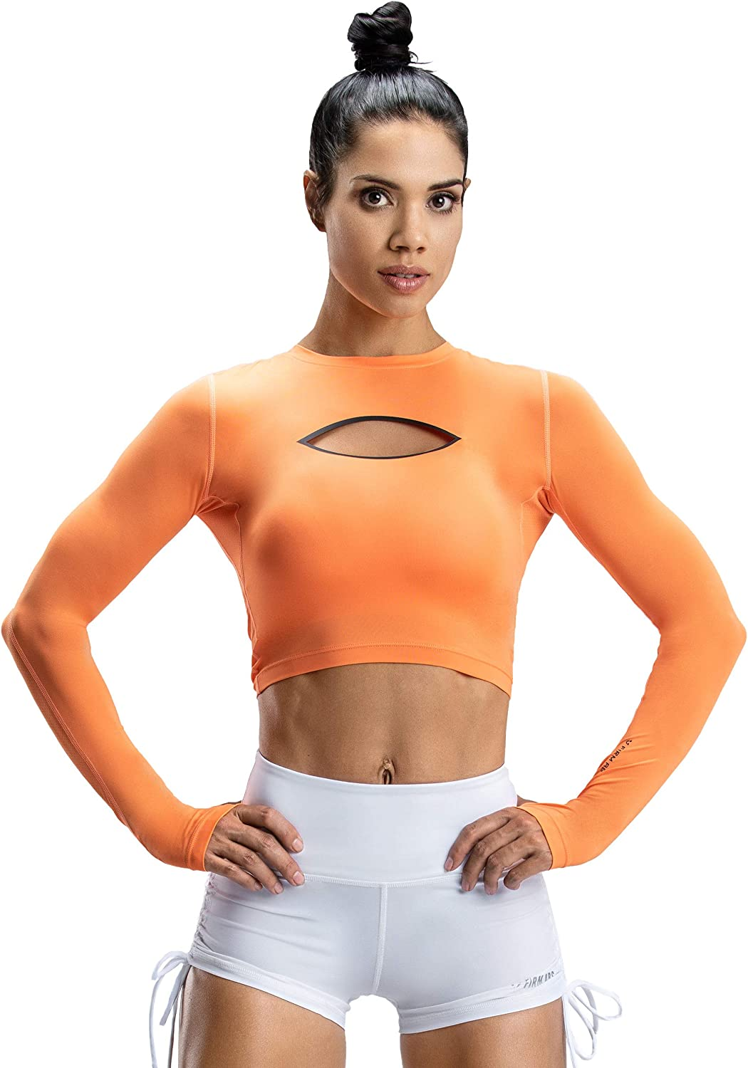 V LOVEFIT Firm ABS Womens Compression Shirt Dry Fit Long Sleeve T Shirts Workout Yoga Running Tops Crewneck Slim Fit Tops
