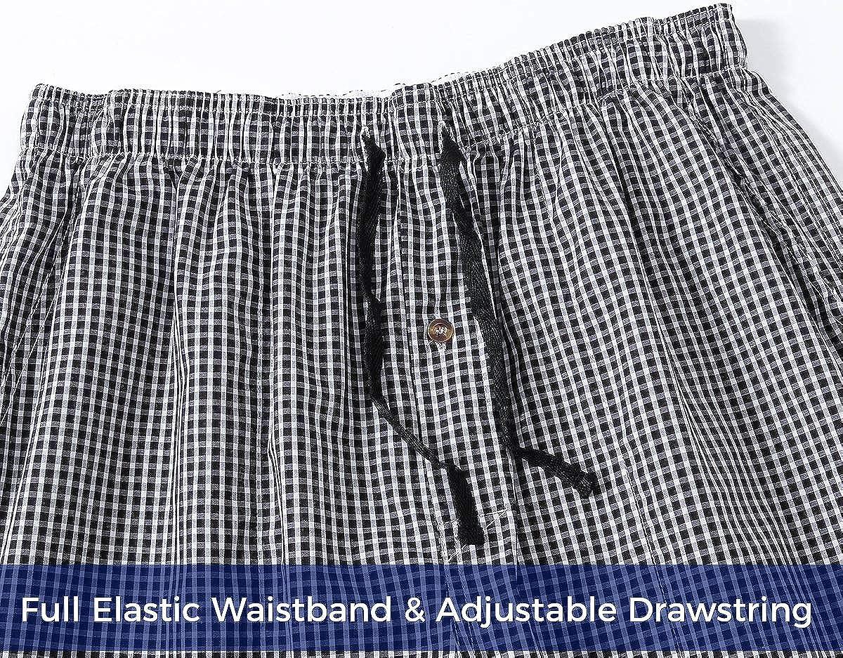 Men's Pajama Shorts Man Plaid Sleep Shorts Cotton Boxer Lounge Shorts with Pockets