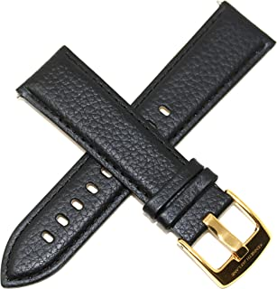 Kenneth Jay Lane 22MM Black Genuine Leather Watch Strap 8 Inches Long with Gold Stainless Steel KJL Buckle