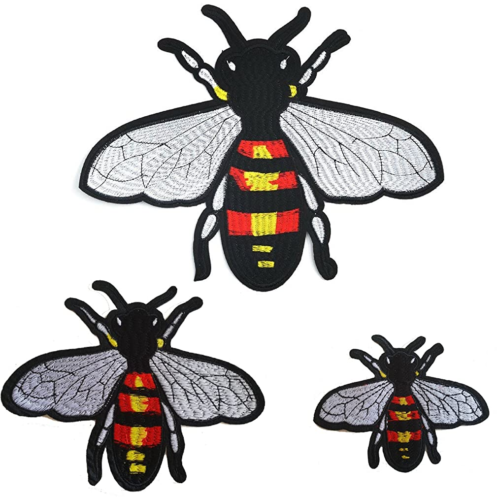 Special100% 3 PC Bee Embroidered Iron-On Patches Embroidered Applique Badge Iron On Sew On Patch DIY Decoration for Clothes