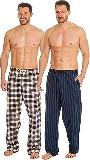 2 Pack Mens Pyjama Bottoms Pajama Pants Lounge PJ Trousers Cotton Checked Woven Size Small Medium Large X Large XX Large S...