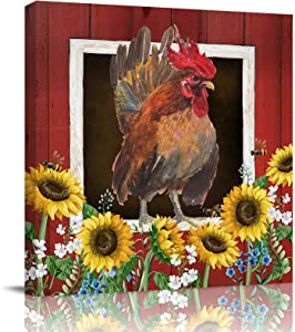 Chucoco Wall Art Canvas Rooster Farm Red Barn,Canvas Prints Easy to Hang Wall Decor Garden Sunflower Bee for Bedroom Bathroom Kitchen Hotel Cafe 8x8 in