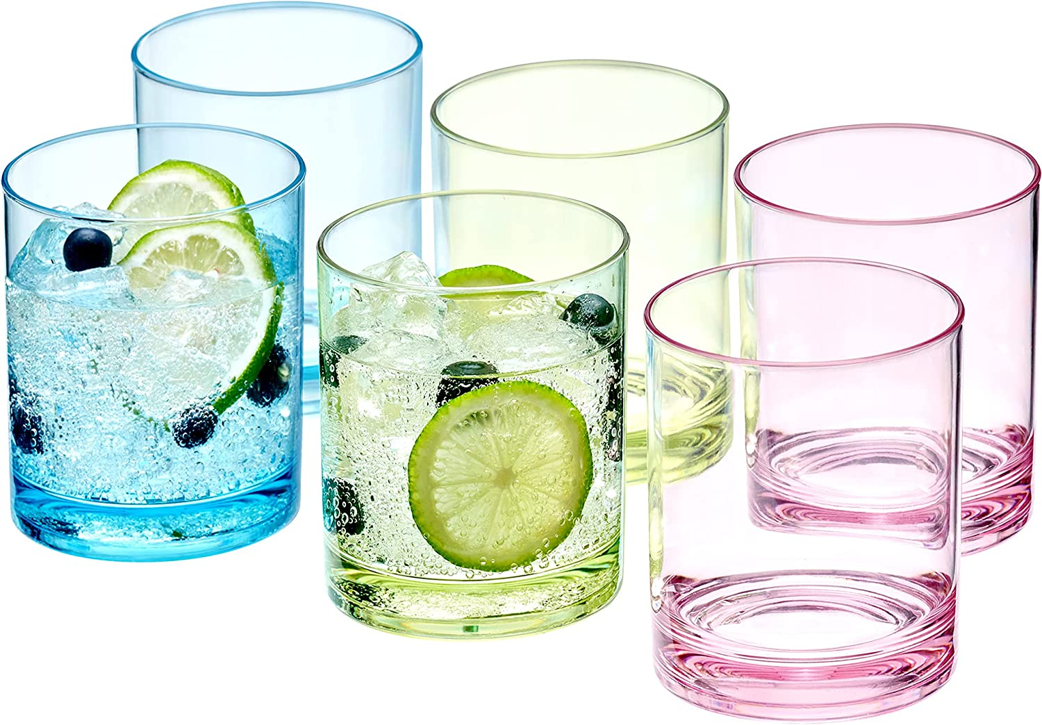 Amazing Abby - Probity - 12-Ounce Plastic Tumblers (Set of 6), Plastic Drinking Glasses, Mixed-Color High-Balls, BPA-Free, Shatter-Proof, Dishwasher-Safe