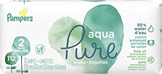 Pampers Aqua Pure 2 Pop-Top Packs Sensitive Water Baby Wipes, Hypoallergenic and Unscented, 112 Count