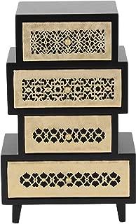 "Deco 79 木制首饰箱,黑色/金色,25.4 厘米 x 25.4 厘米 Black/Off-White 13"" x 8"" 82187"