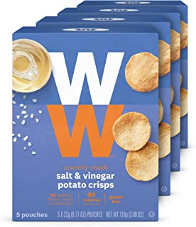 WW Salt and Vinegar Potato Crisps - Gluten-free, 2 SmartPoints - 4 Boxes (20 Count Total) - Weight Watchers Reimagined