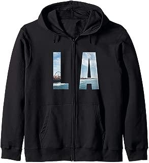 Los Angeles CA LA Santa Monica Pier Blue Ocean Waves Zip Hoodie