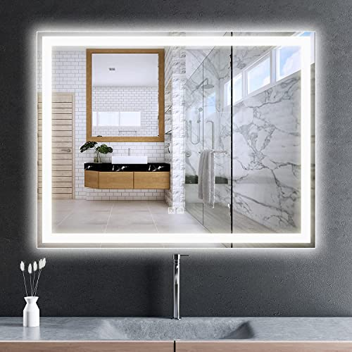 high quality RoomTec LED Bathroom Mirror 36x28,Anti-Fog,Dimmable,Both Vertical and Horizontal 2021 Wall Mounted,UL/ETL lowest Listed online sale