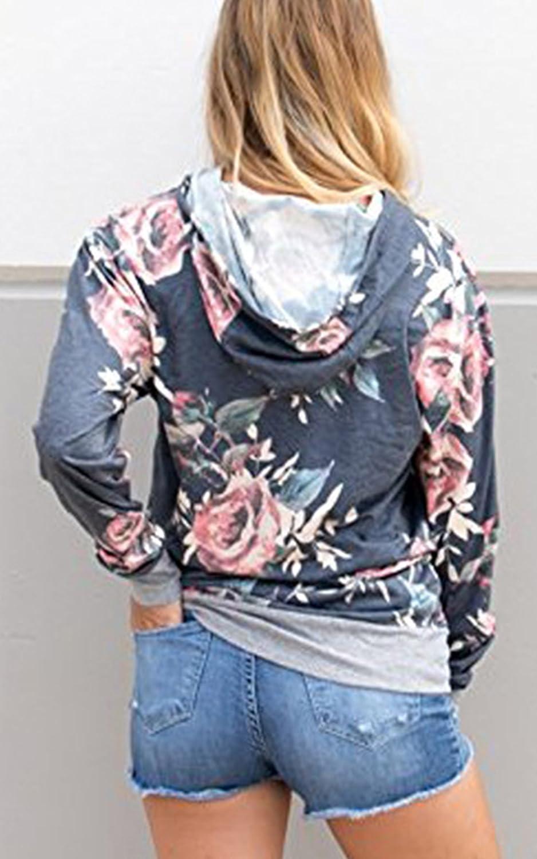 Angashion Damen Hoodies Langarm Kapuzenpullover-Blumenmuster Casual Sweatshirt Pullover Bluse Oberteile Grau