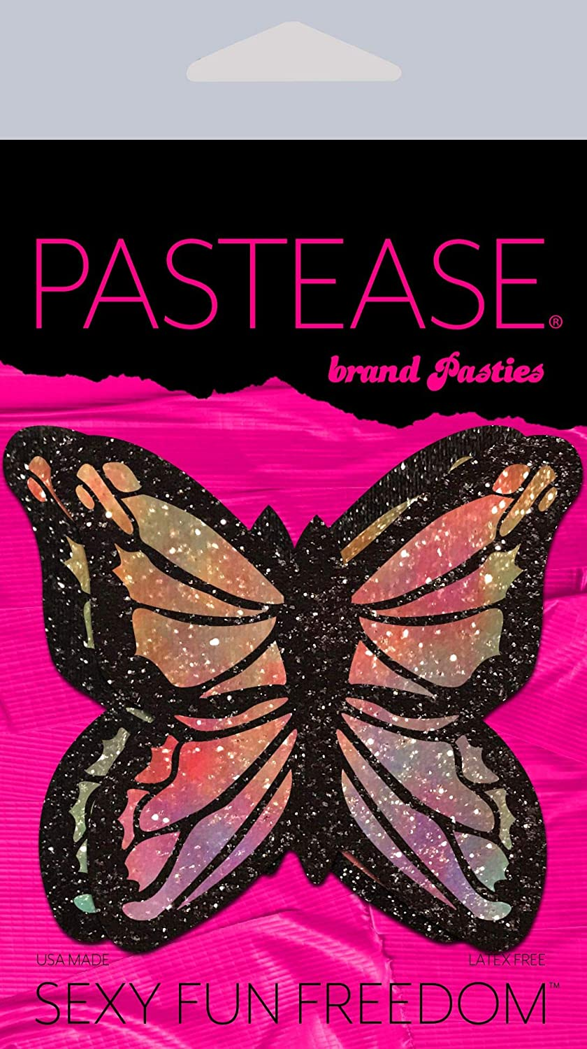 Pastease Nipple Cover Pasties - Monarch: Glitter Pastel Rainbow Butterfly - Festival Rave EDM Party Club DJ Techno Outfit Accessory: Clothing