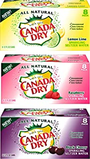 Canada Dry Raspberry, lemon lime, black cherry sparkling seltzer water_variety packs, 12 oz can ( pack of 24, total 288 fl oz)