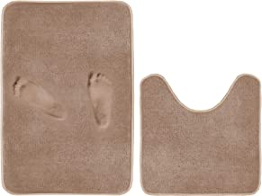 Bath Rug Set Memory Foam Flannel Non Slip Bath Mat Contour Set 2 Piece, Thick and Durable Bath Rugs (20W X 32L Inches & 20...