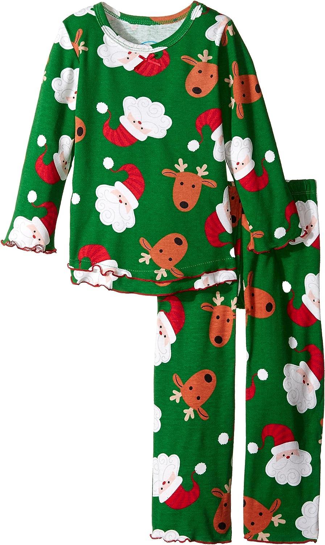 Sara's Prints Big Girls' Santa's Reindeer Ruffle Top and Pant, Toddlers Size 2T