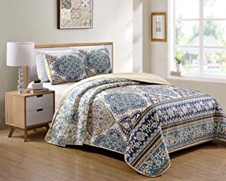 Kids Zone Home Linen Bedspread Set Floral Pattern Blue Beige Off White New (King/California King)