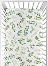 Sweet Jojo Designs Floral Leaf Girl Fitted Crib Sheet Baby or Toddler Bed Nursery - Green and White Boho Watercolor Botani...
