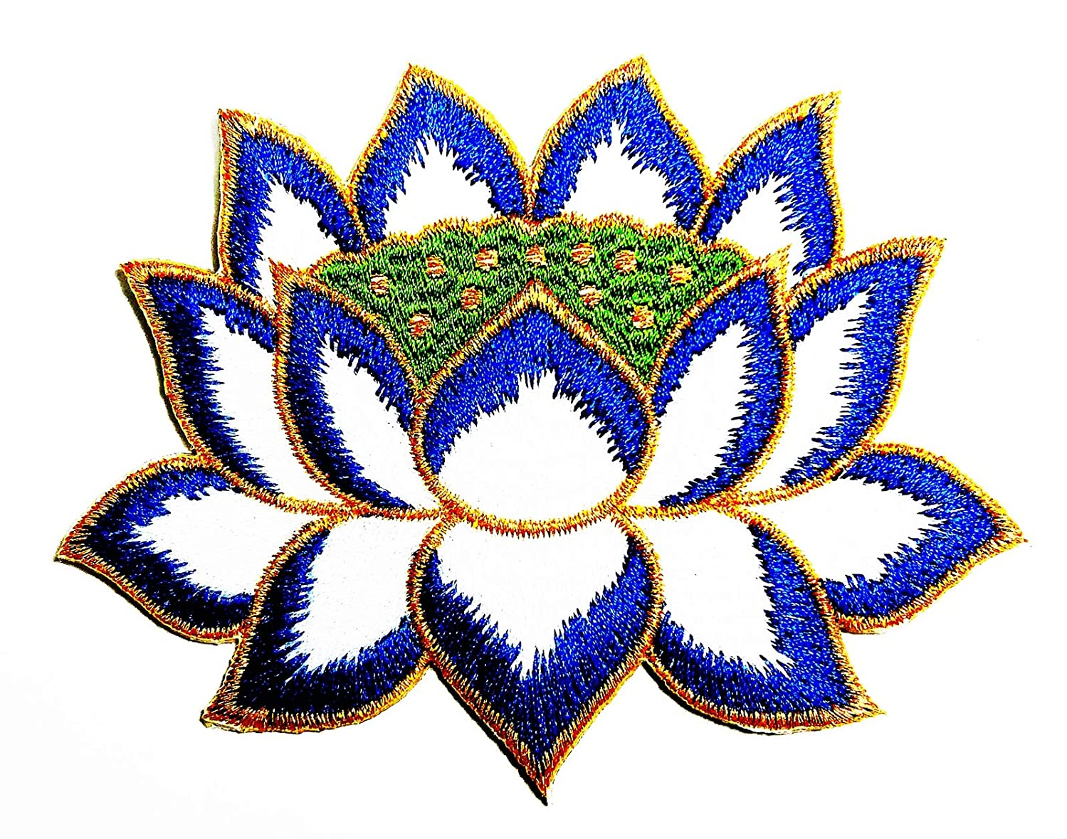 Lotus Blue Flowers Along The Beautiful Water Canal 4X3 in MEGADEE Patch Cartoon Kids Symbol DIY Iron on Patch Iron-On Designer Patch Used for Gifts Crafts Jeans Clothing Fabric