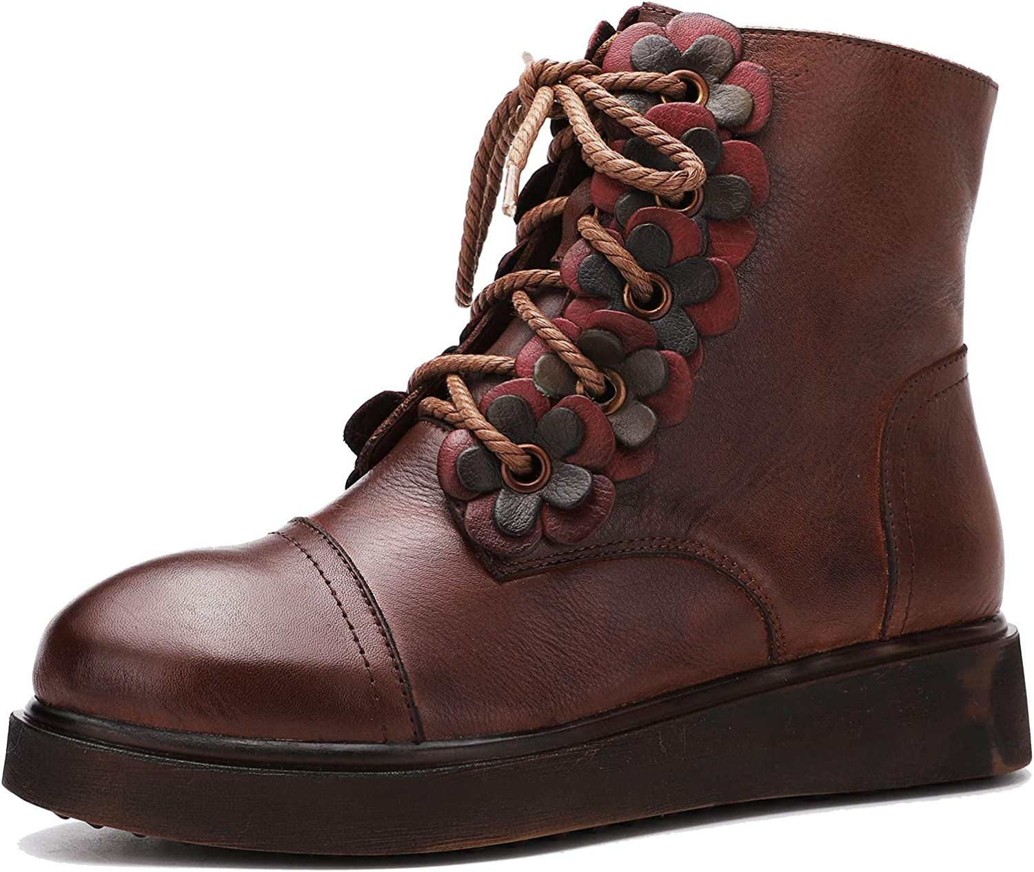 Go to Past Women's Genuine Leather Flat lace-up Ankle Boots Flower Decoration Vintage Round Casual shoes Side Zipper Non-Slip Platform Boots