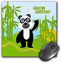 "3dRose Grow Green Message & Panda Bear Near Bamboos - Mouse Pad, 8 by 8"" (mp_125881_1)"