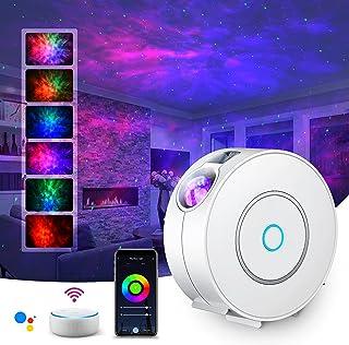 LED Alexa Projecteur Étoiles Rotatif,SUPPOU Planetarium Projecteur Led Intelligent,Veilleuse,Gradation/Contrôle vocal/Conn...