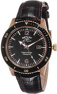 Rotary Watches Men's Swiss Ocean Avenger Black Dial Leather Strap Quartz Watch GS90097/04