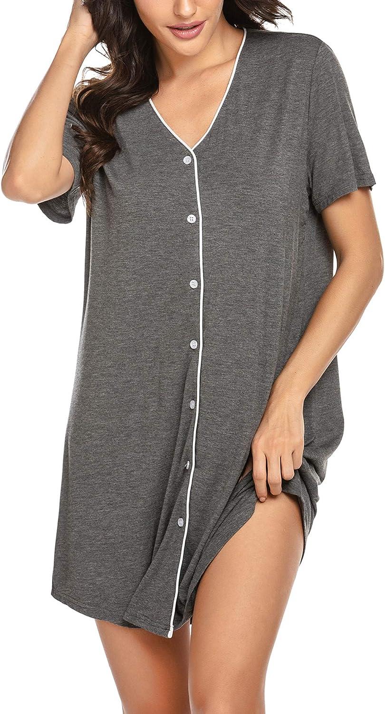 Ekouaer Direct sale of manufacturer Sleepwear Women's Night Shirt Casual Sleeve low-pricing Sleeps Short