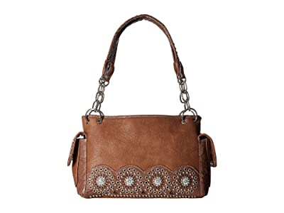 M&F Western Rhianna Satchel (Brown) Satchel Handbags