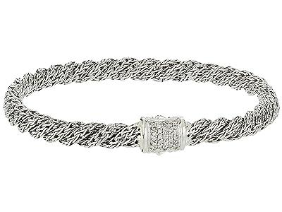 John Hardy Twist Chain Diamond Pave Flat Bracelet (Silver) Bracelet