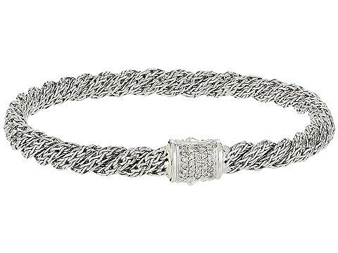 John Hardy Twist Chain Diamond Pave Flat Bracelet