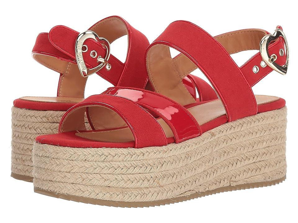 LOVE Moschino Suede Platform Sandal (Red) Women