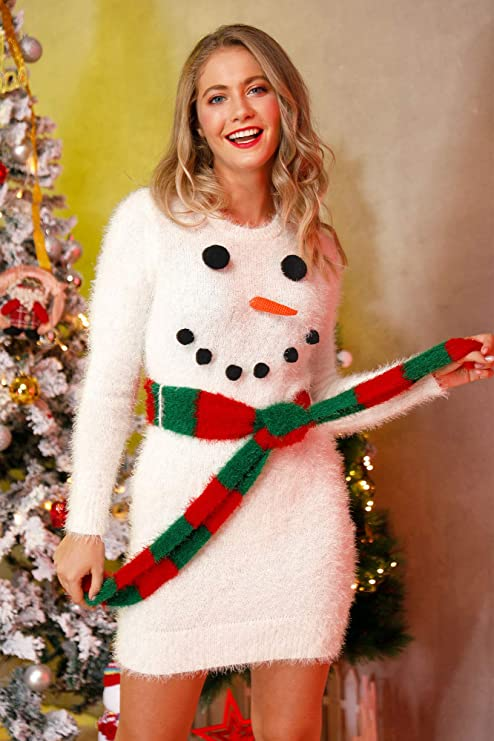 Festive sweater dresses for women, Long sleeve dress fuzzy snowman with scarf belt, Women Christmas party dresses