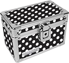 Vaultz Locking 3 x 5 Index Card Box, Black and White Polka Dot (VZ03715)