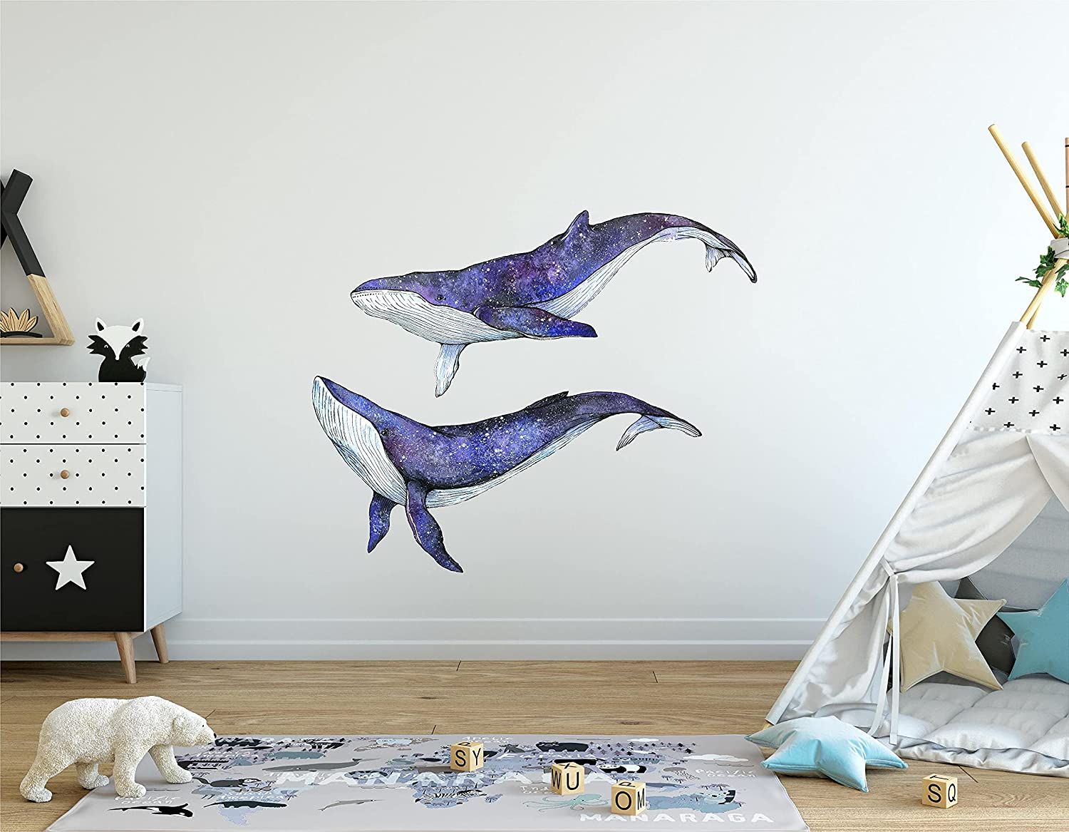 Galaxy Whales Wall Decal Set Ocean Sea Stickers Watercolor online shopping Cash special price