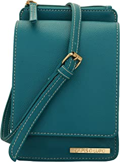 Lapis O Lupo Czech Women's Synthetic Mobile Sling Bag (Turquoise)