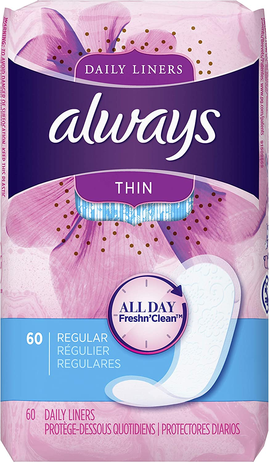 Cash special price Always Thin Dailies Max 46% OFF Liners Wrapped Count 60 Unscented