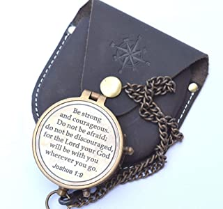 NEOVIVID Be Strong and Courageous Engraved Compass, Confirmation Gift Ideas, Baptism Gifts