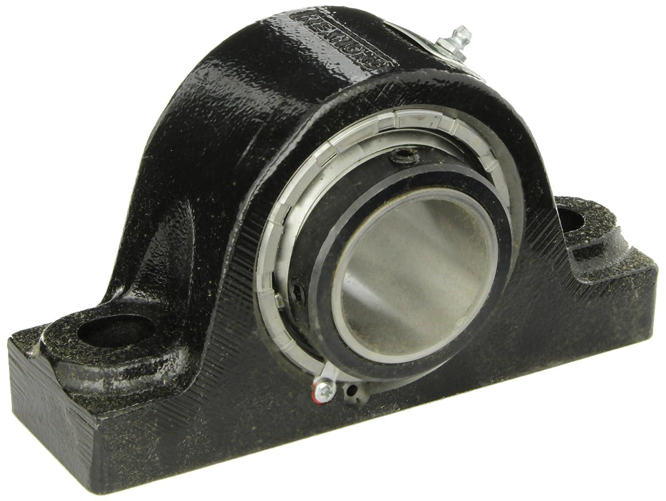 Rexnord ZA2108 Roller Bearing Pillow Block, 2 Bolt Holes, Relubricatable, Non-Expansion, Cast Iron, Setscrew Locking Collar, Steel Insert, Inch, 1-1/2