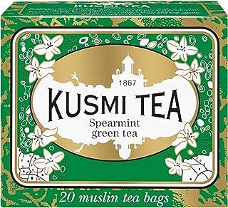 Kusmi Tea - Spearmint Green Tea - Refreshing Green Tea with Spearmint Leaves & Mint Essential Oils - Natural, Premium Loose Leaf Spearmint Green Tea in 20 Eco-Friendly Muslin Tea Bags (20 Servings)