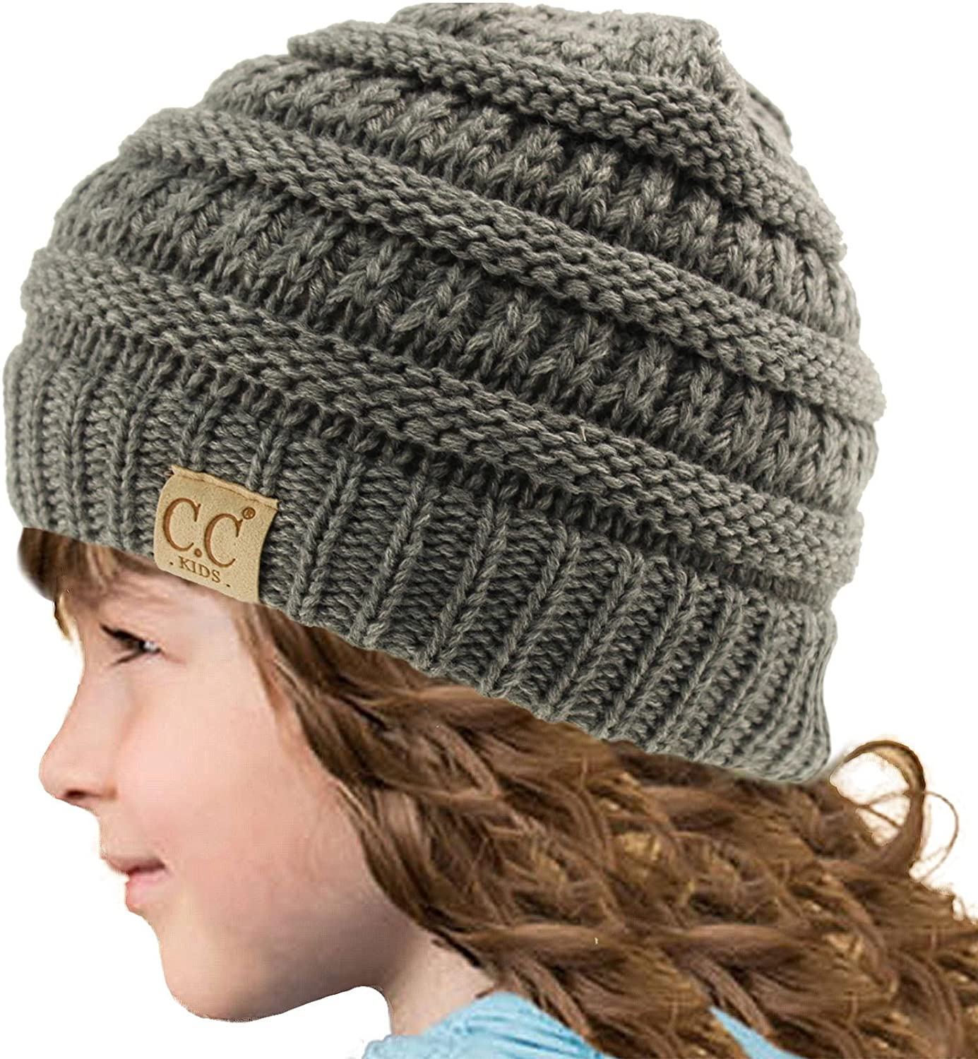 Kids CC Ages 2-7 PomPom Chunky Thick Stretchy Knit Slouch Beanie Cap Hat